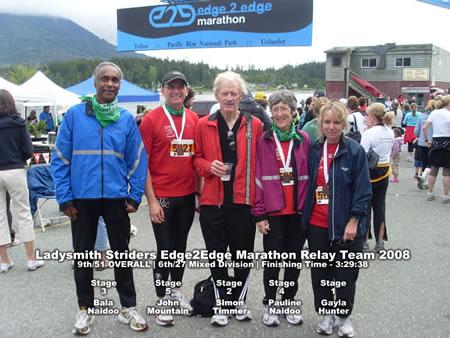 Click to Enlarge Photo - 2008 Ladysmith Striders Edge2Edge Marathon Relay Team